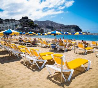 PUERTO RICO, GRAN CANARIA, SPAIN_MAY 20, 2016: Public beach of Puerto Rico on May 20, 2016 at Gran Canaria. Spain.